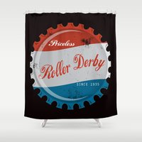 roller derby Shower Curtains featuring Vintage Roller Derby Bottle Cap  by LucyDynamite