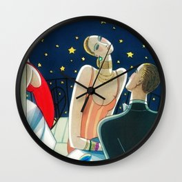 The Woman in Red & Stars, Art Deco - Haute Couture NYC Portrait Painting Wall Clock