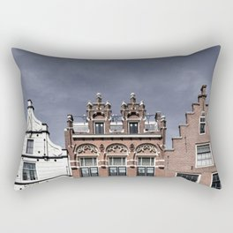 Old facades of canal houses in Alkmaar, The Netherlands Rectangular Pillow