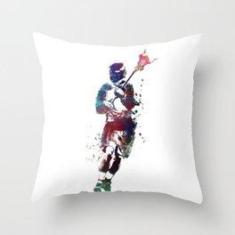 Lacrosse player art 2 Throw Pillow