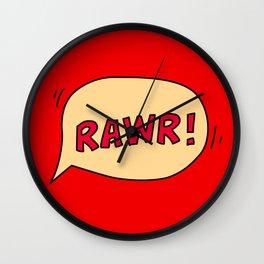 Rawr speech bubble Wall Clock