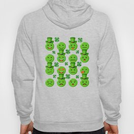 Green Emojis Glittery Clover Top Hat St Patricks Day Hoody
