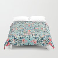 bedding Duvet Covers featuring Gypsy Floral in Red & Blue by micklyn