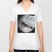 ski V-neck T-shirts featuring Moon Ski by AF Knott