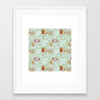 fries Framed Art Prints featuring PIZZA & FRIES by Josh LaFayette