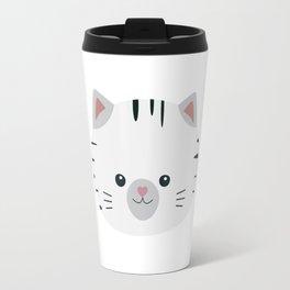Black and White tiger cat Travel Mug