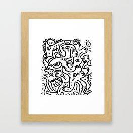 Summer Monsters Street Art Black and White Graffiti Framed Art Print