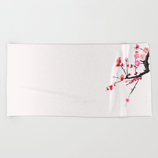 red plum flower red background Beach Towel