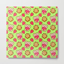 Cute funny sweet adorable happy Kawaii toast with raspberry jam and butter, chocolate chip cookies, red ripe summer strawberries cartoon fantasy lime green pattern design Metal Print