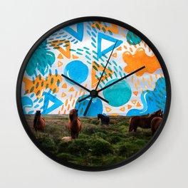 Wild Horses // Collage Horses + Creatve Pattern #society6 #art #prints Wall Clock