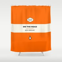 kerouac Shower Curtains featuring Penguin Book / On The Road - Jack Kerouac  by FunnyFaceArt