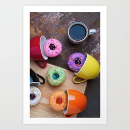 Fancy donuts with black coffee Art Print