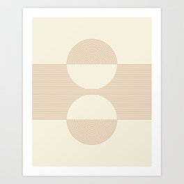 Geometric lines in Shades of Coffee and Latte 2 Color Theme Art Print