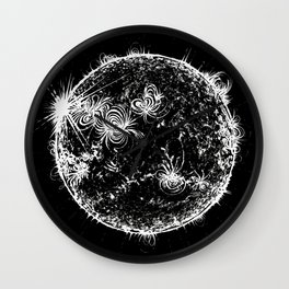 Large Sun Print, black & white solar design by Little Lark Wall Clock
