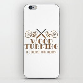 Carpentry Tee For Carpenters Saying Wood Turning It's Cheaper Than Therapy T-shirt Design Jigsaw iPhone Skin
