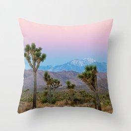 Sunrise Joshua Tree Desert Vibes (Blue and pink) Throw Pillow