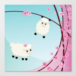 Spring Cherry Blossom and Sheep Graphic Art Canvas Print
