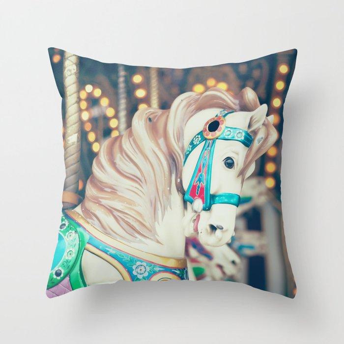 Blue Carousel Horse Throw Pillow