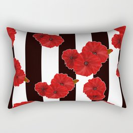 Red poppies on a black and white striped background. Rectangular Pillow