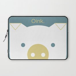 """Peek-a-Boo Pig, """"Oink"""" — Blue-Green, Gold and White Laptop Sleeve"""