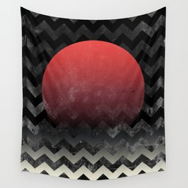 Red Sun in Geometric Waves Wall Tapestry