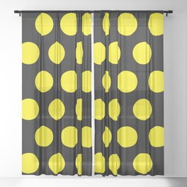 Yellow Circles on Black Background Sheer Curtain