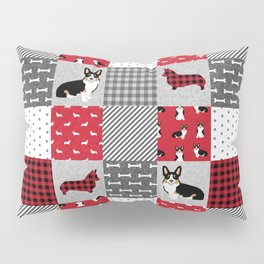Tricolored Corgi Patchwork - classic buffalo plaid, plaid, dog dad, dog lover, dog design, cute dogs Pillow Sham