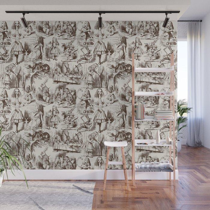 Alice in Wonderland | Toile de Jouy Pattern | Brown | Beige | Vintage Pattern | Victorian Gothic | Wall Mural