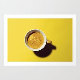 Fresh Espresso against vibrant yellow. Art Print