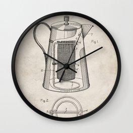 Coffee Percolator Patent - Coffee Shop Art - Antique Wall Clock