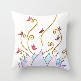 Lotus - Butterfly - Charmed Rainbow - Life Sprout Throw Pillow