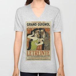 Le Étreinte, Theatre du Grand Guignol, vintage poster Unisex V-Neck
