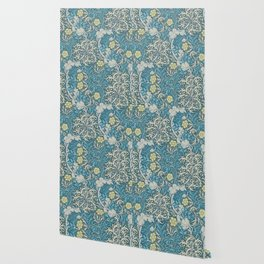 William Morris,art nouveau pattern, seaweed,blue,florals,vintage Wallpaper