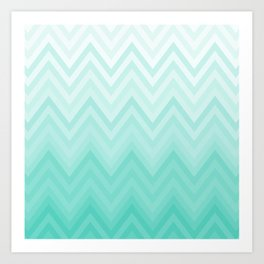 Fading Teal Chevron Art Print