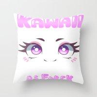 kawaii Throw Pillows featuring KAWAII by s3tok41b4