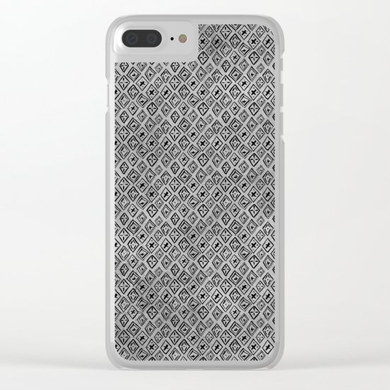 60s -Black abstract pattern on concrete -Mix&Match with Simplicty of life Clear iPhone Case