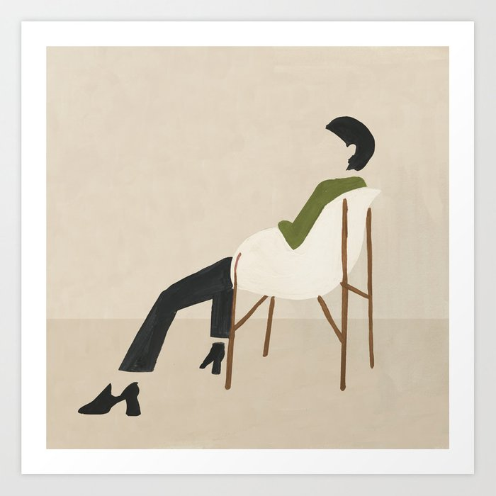 Eames Chair Woman Kunstdrucke