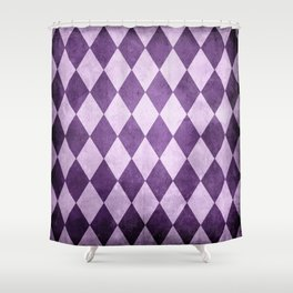 Grape Harlequin Grunge Shower Curtain