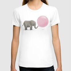 Jumbo Bubble SMALL White Womens Fitted Tee