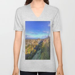 Edinburgh City Panorama Unisex V-Neck