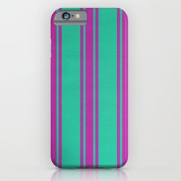 Pink lines on a turquoise background iPhone Case