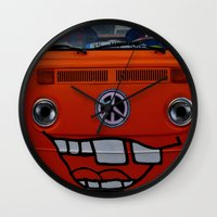 volkswagen Wall Clocks featuring funny volkswagen by gzm_guvenc