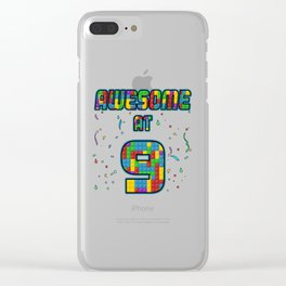 9th Birthday Gift Awesome At 9 Years Blocks Brick  Clear iPhone Case
