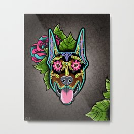 Doberman with Cropped Ears - Day of the Dead Sugar Skull Dog Metal Print