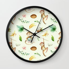 Tropical hand painted floral monkeys coconut pattern Wall Clock