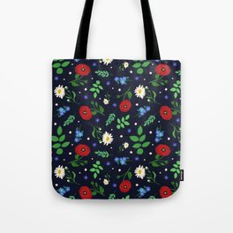 Swedish Folk Flowers Tote Bag
