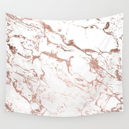 Modern chic faux rose gold white marble pattern Wall Tapestry