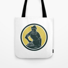 African American Woman Ironing Clothes Woodcut Tote Bag