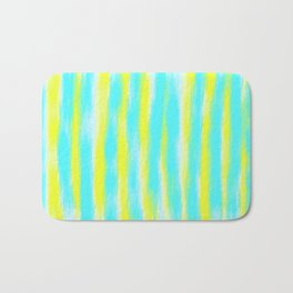 yellow and blue lines drawing and painting with white background Bath Mat