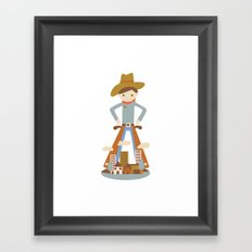 Cowboy in a lonely town Framed Art Print